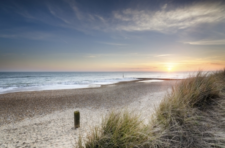 Sunset in the sand dunes at Hengistbury Head near Bournemouth in Dorset Stockfoto