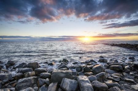 Sunset at Kimmeridge beach on the Jurassic Coast in Dorset