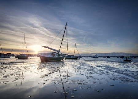 Boats in Poole Harbour at Sandbanks in Dorset