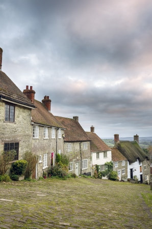 shaftesbury: A row of quaint English cottages at Gold Hill in Shaftesbury, Dorset