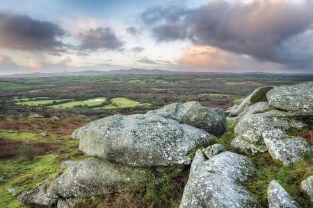 Sunrise at Helman Tor a natural granite rock formation near Bodmin in Cornwall