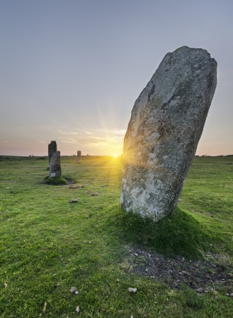 Standing stones at the Hurlers a stone circle at Minions on Bodmin Moor in Cornwall