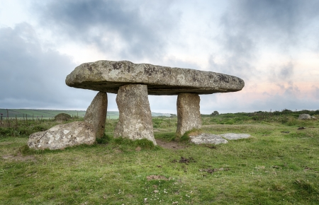 Lanyon Quoit a dolmen on moorland near Penzance in Cornwall
