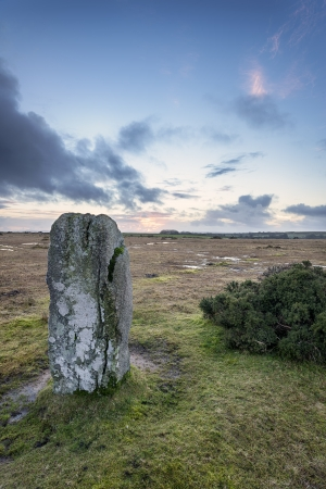 bodmin: Standing stone at the Trippet Stones on Bodmin Moor in Cornwall Stock Photo