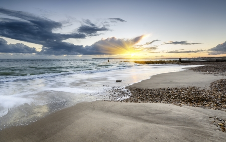 Sunset at Solent Beach at Hengistbury Head near Bournemouth in Dorset