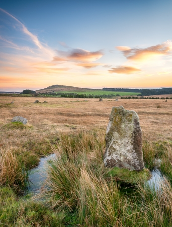 bodmin: Fernacre stone circle on a remote part of Bodmin Moor in Cornwall
