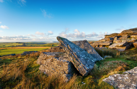 bodmin: Granite slabs in evening light on top of Alex Tor on Bodmin Moor in Cornwall Stock Photo