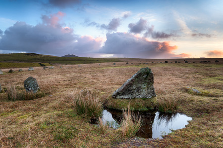 Sunrise at Stannon stone circle on BodminMoor in Cornwall