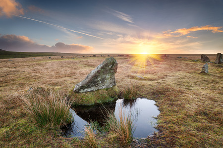Winter sunrise at Stannon Stone Circle on Bodmin Moor in cornwall