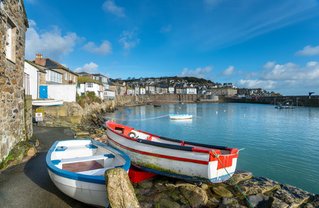 The harbour at Mousehole in Cornwall, a traditional fishing village near Penzance.