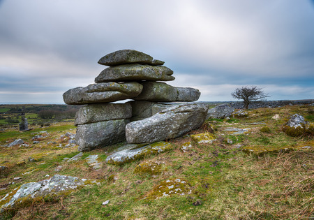 bodmin: Slabs of granite forming natural rock formations at Carbilly Tor on Bodmin Moor in Cornwall