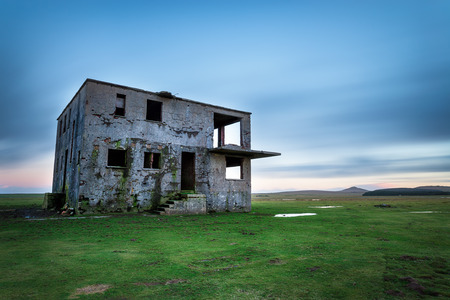 control tower: Derelict control tower at an abandoned WWII airfield at Davidstow in Cornwall