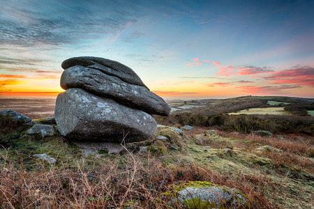 bodmin: Sunrise at Helman Tor, rugged moorland near Bodmin in Cornwall