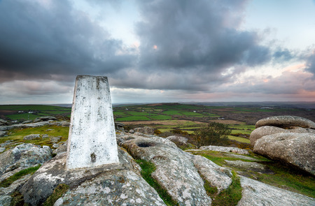 triangulation: A Trig Point for mappingr triangulation on top of Helman Tor in Cornwall