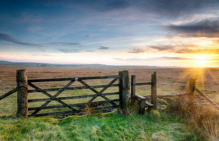 A wooden gate leading on to open moorland on Bodmin Moor in Cornwall photo