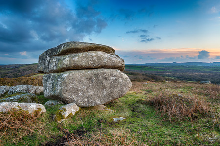 Weathered granite rock formation on Helman Tor a nature reserve on the Saints Way long distance footpath near Bodmin in Cornwall photo