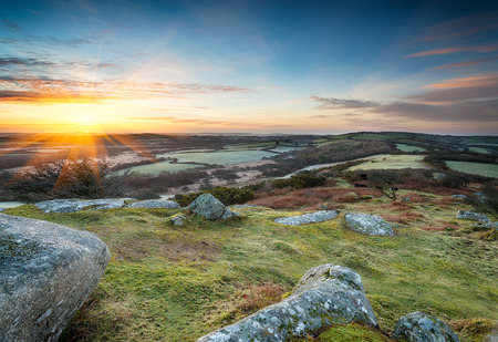bodmin: Spring sunrise at Helman Tor near Bodmin in Cornwall