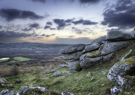 bodmin: A rocky outcrop of weathered granite at Helman Tor near Bodmin in Cornwall