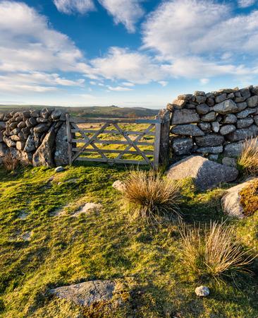 drystone: Wooden gate in a drystone wall on Dartmoor National Park in Devon