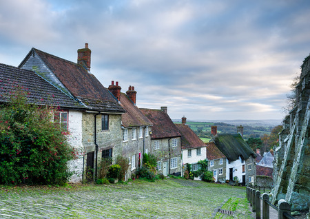 shaftesbury: Row of quaint English cottages at Gold Hill in Shaftesbury in Dorset. Stock Photo