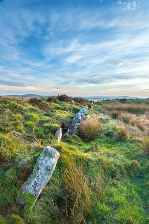 bodmin: Standing stones at King Arthurs Hall a megalithic monument on Bodmin Moor in Cornwall Stock Photo