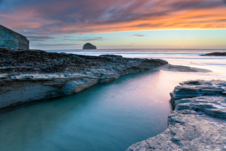 Dusk at Trebarwith Beach photo