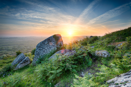 bodmin: Sunset at Helman Tor a rocky area of rugged moor near Bodmin in Cornwall
