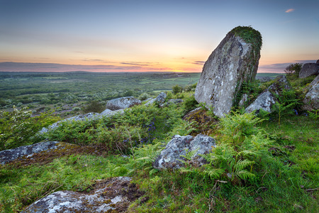 bodmin: Sunset at Helman Tor a rocky area of rugged moornear Bodmin in Cornwall