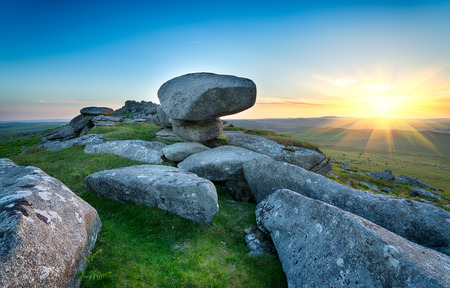 bodmin: Sunset at the top of Kilmar Tor one of the highest peaks on Bodmin Moor in Cornwall