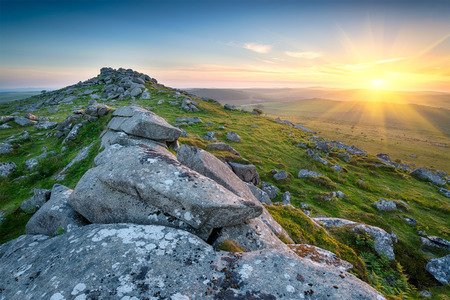 Sunset at the top of Kilmar Tor one of the highest peaks on Bodmin Moor in Cornwall
