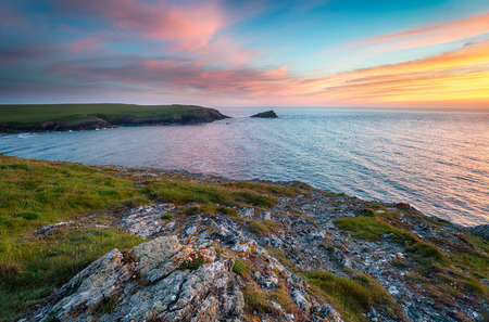 polly: Sunset at West Pentire above Crantock near Newquay and looking out to Kelsey Head and Porth Joke Stock Photo