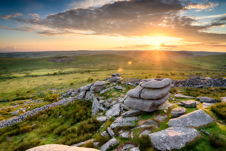 bodmin: The view from the Cheesewring tor at Stowes Hill on Bodmin Moor in Cornwall Stock Photo