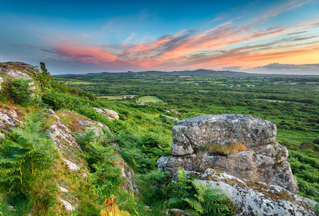 bodmin: A view of the countryside in Cornwall from the top of Helman Tor near Bodmin Stock Photo