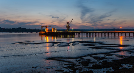 night time: Night time on the Tamar River at Plymouth in Devon Stock Photo
