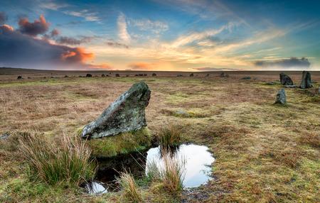 bodmin: Sunrise at Stannon stone circle on bodmin Moor in Cornwall