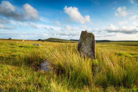 bodmin: A summer evening at Fernacre Stone Circle on Bodmin Moor in Cornwall