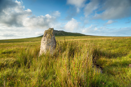 bodmin: Standing stone at Fernacre stone circle at the foot of Roughtor on Bodmin Moor in Cornwall Stock Photo