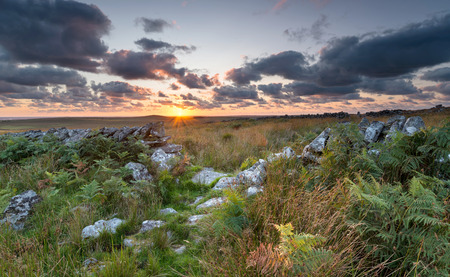 bodmin: Dramatic sunset over Bodmin Moor in Cornwall on Garrow Tor Stock Photo