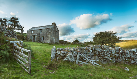english countryside: An old abandoned farm cottage on Bodmin Moor in Cornwall - vintage effect