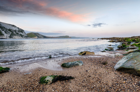 mupe bay: Mupe Bay an isolated cove on Dorsets Jurassic Coast near Lulworth Stock Photo
