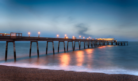 night time: Night time at the pier at Deal in Kent Stock Photo