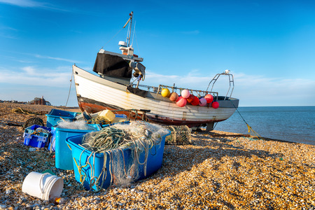 deal in: Fishing boat on the shingle beach at Deal in Kent