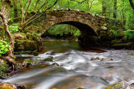 동부 다트 무어에서 Hisley 우즈 강을 횡단하는 고대 돌 packhorse 다리