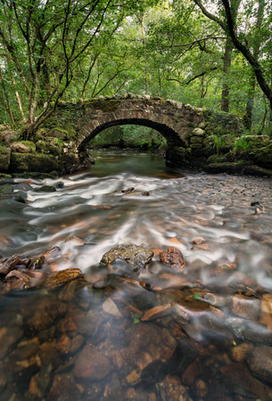 동쪽 다트에 Hisley 숲에서 강 보비을 건너 고대 돌 packhorse 다리