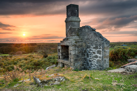 An old ruined house on Bodmin Moor in Cornwall photo