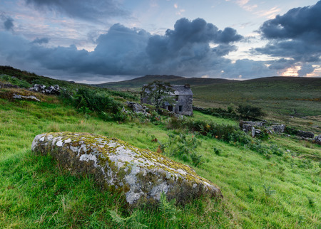 willy: An old abandoned cottage on Bodmin Moor in Cornwall with Brown Willy behind