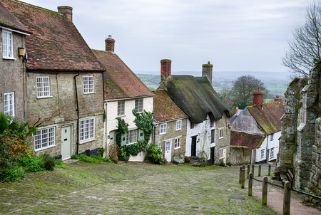 shaftesbury: Cottages on a cobblestone street at Gold Hill in Shaftesbury in Dorset Stock Photo