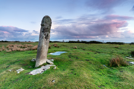 pagan cross: Long Tom or The Longstone - an ancient granite cross near the Minions on Bodmin Moor in Cornwall