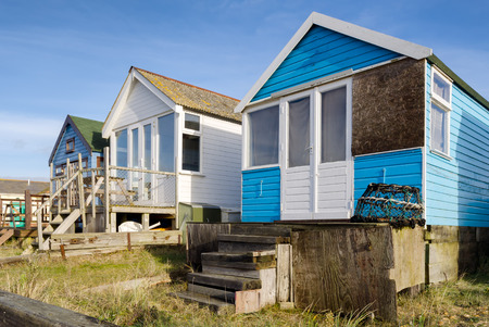 hengistbury: Beach Huts on Mudeford Spit at Hengistbury Head near Christchurch in Dorset