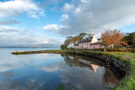 south west coast path: The South West Coast Path at Empacombe Quay in Mount Edgcumbe in Cornwall Stock Photo
